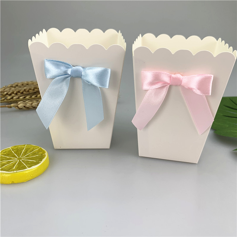 6pcs Mini Pink /Blue Paper Popcorn Boxes With Bow Pop Favors Box Baby Shower Birthday Party Treat Favors Table Supplies