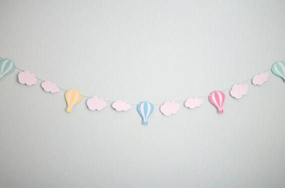 Multi farbe Heißluftballon und Cloud Garland Hochzeit banner, Baby ...