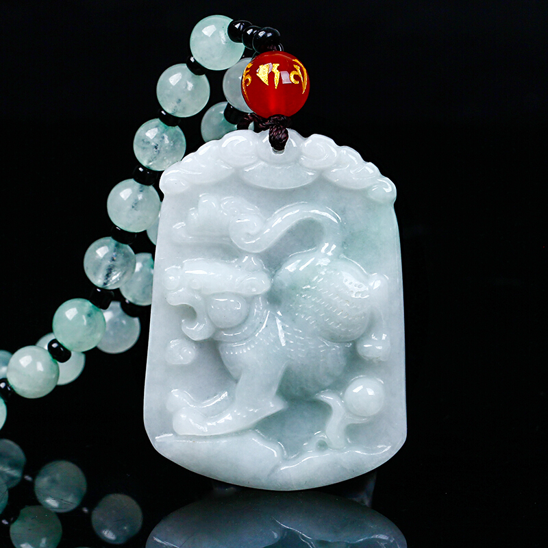 Natural jadeite Chinese zodiac jade pendant Zodiac tiger transshipment jade Yu Pei necklace pendant Send a certificate natural jadeite dragon brand lace jade pendant zodiac dragon transshipment yu pei jade pendant necklace for women and men