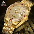 Nueva Awsky Hombres Reloj Automático 18 k Chapado En Oro Rhinestone Lleno Día Fecha 28 Joyas de Lujo de los hombres Mecánicos relojes Freeshipping