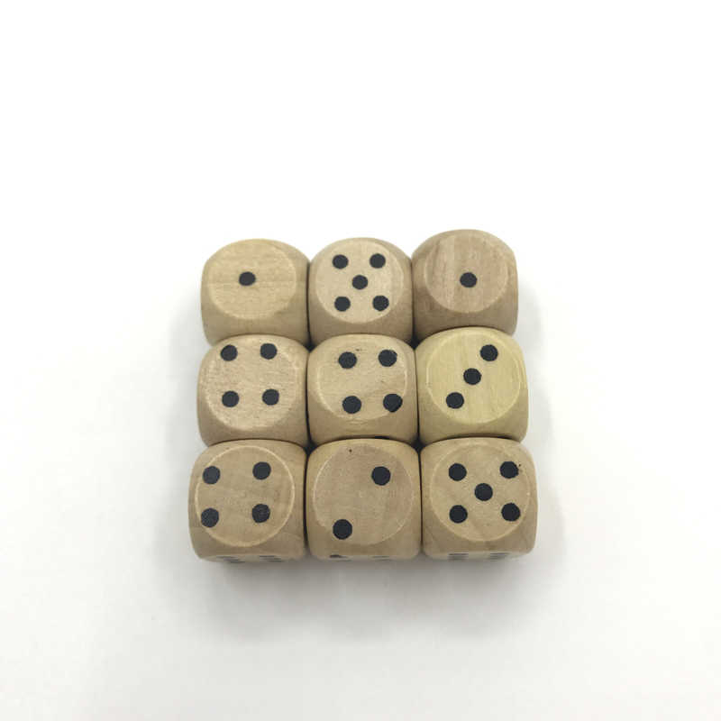 Yerner 6Pcs 12mm Drinking Wooden Dice Rounded Corner Woodiness Point Dice Natural Wood Material Children Teaching Dice Wholesale