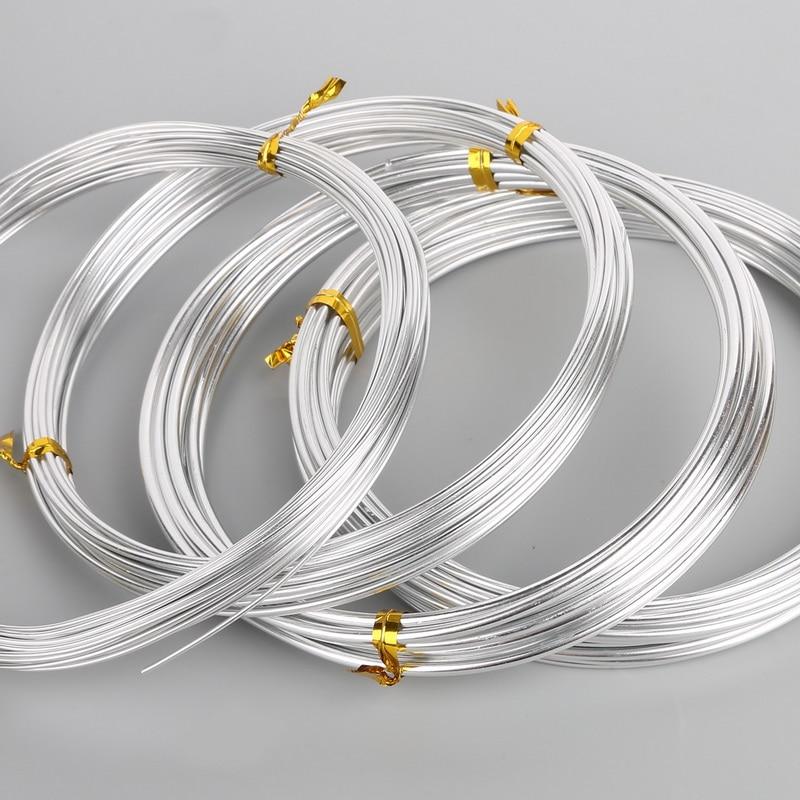 Cor de prata 1mm/1.5mm/2.mm/ 2.5mm anadized fio de alumínio macio diy jóias artesanato versátil pintado de alumínio fio de metal