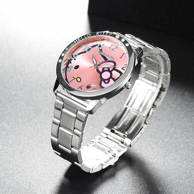 Full Steel Hello Kitty Watch Women Quartz WristWatch Cartoon Cute Watches Childr