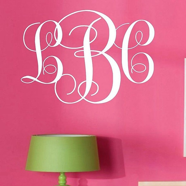 monogram initials vinyl wall decal lettering art words personalized