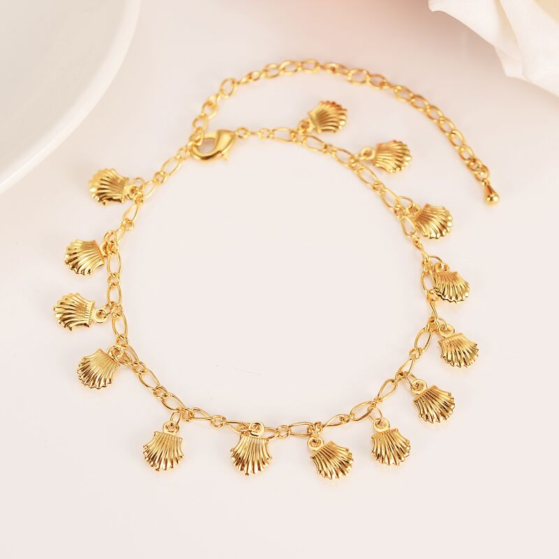 New Korean Fashion Fine Yellow Solid gold FINISH Unlimited Charm Multi-element Bracelet lengthen Size length Anklet Summer