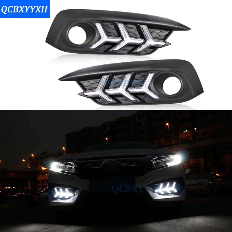 12V Car Styling DRL For Honda Civic 10th 2016-2017 White Turn Yellow Signal Relay LED Daytime Running Light With Fog Lamp Hole