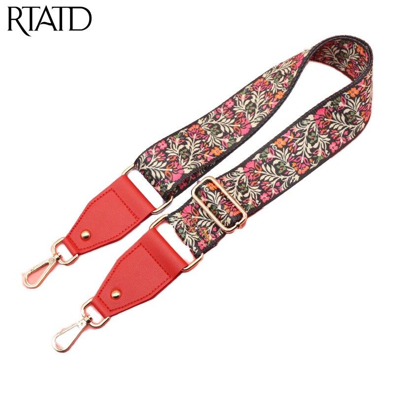 Canvas Bag Strap Women's Fashion belt for Bag Adjust Handles For Handbags Flower Design Gold Buckle Shoulder Strap Q0116 leaf design buckle belt