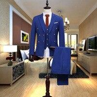 2018 изготовление под заказ элегантный темно синий Мужские костюмы пиджак с острыми лацканами Человек платье костюм slim fit Бизнес Свадьба Клас