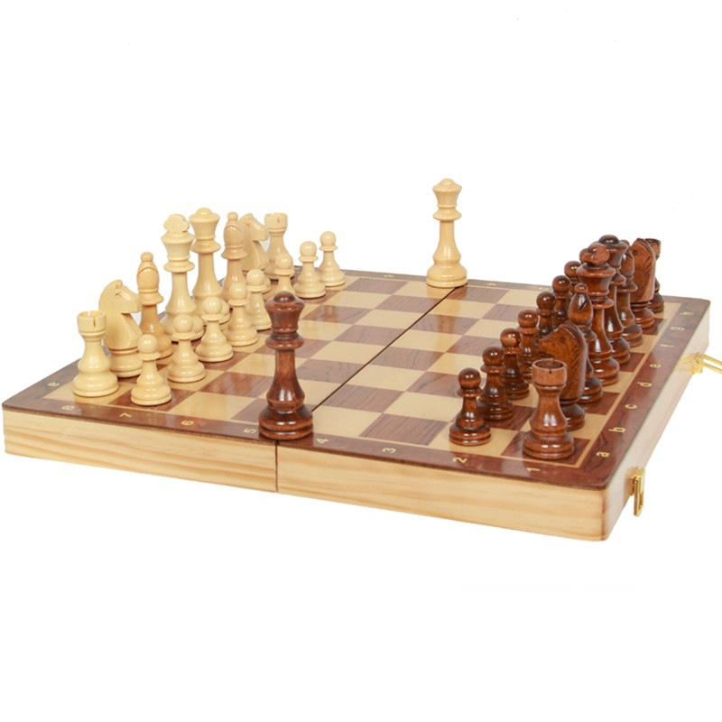 BSTFAMLY wooden chess set game, portable game of international chess, High-grade folding chessboard wooden chess pieces LA6 21 inch 53cm jumbo wooden chess box folding portable chess board standard international chess games toy