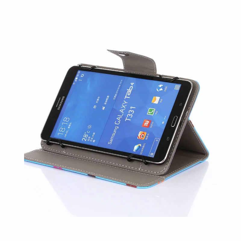 Myslc Universal para Prestigio MultiPad zabio 3208 3G 8 pulgadas tableta impresa PU funda vertical de cuero
