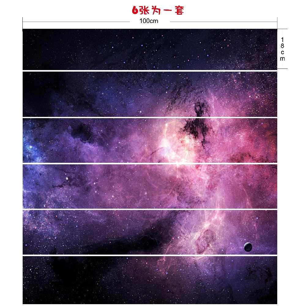 6 قطعة/المجموعة 18 cm x 100 cm الملونة الخيال نجوم نمط نمط درج ملصقا خلفيات LTT020