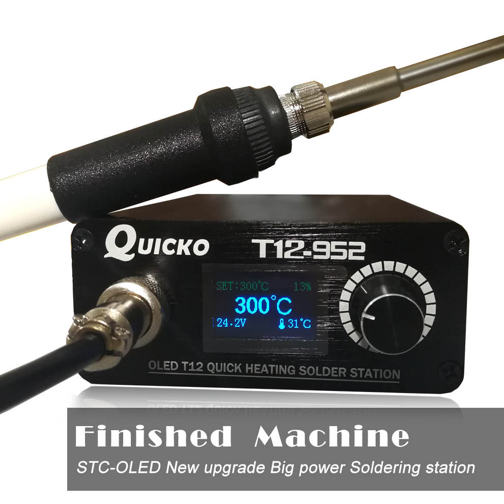 Quicko T12 STC  OLED Soldering Station Electronic Welding Iron 2019 New Version Digital Soldering Iron T12-952 With T12 Handle