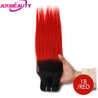 Addbeauty Straight Brazilian Virgin Hair Products Selected Raw Materials Human Hair Weave Bundles T1 Red Color