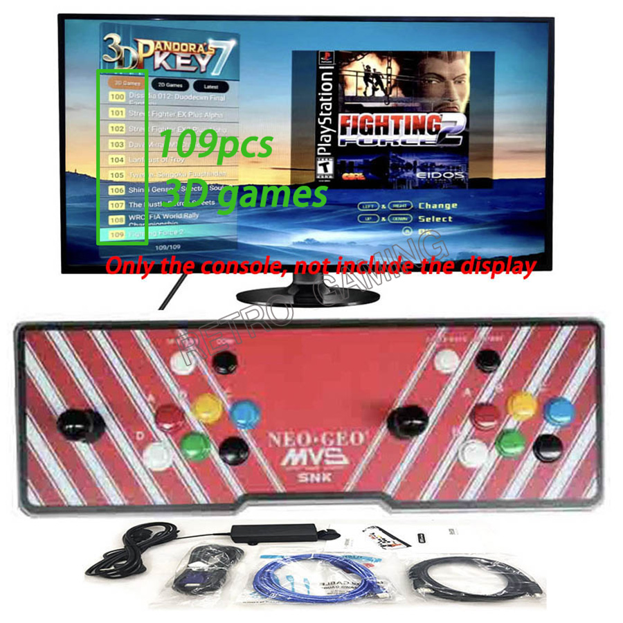 Console de jeu d'arcade 3D Pandora 2177/2263/2362 en 1 LED familiale playstation pour enfants 2 joueurs sortie HDMI VGA vers TV