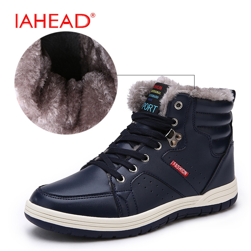 IAHEAD Men Boots New 2017 Winter Fluff Snow Boots Lace-Up Soft Work Shoes Men Leather Casual Boots Plus Size 39-48  MH561 iahead men boots genuine leather flats new casual shoes lace up warm winter boots men plus size 38 48 rain shoes men mh586