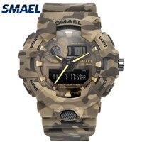 New Camouflage Military Watch SMAEL Brand Sport Watches LED Quartz Clock Men Sport Wristwatch 8001 Mens