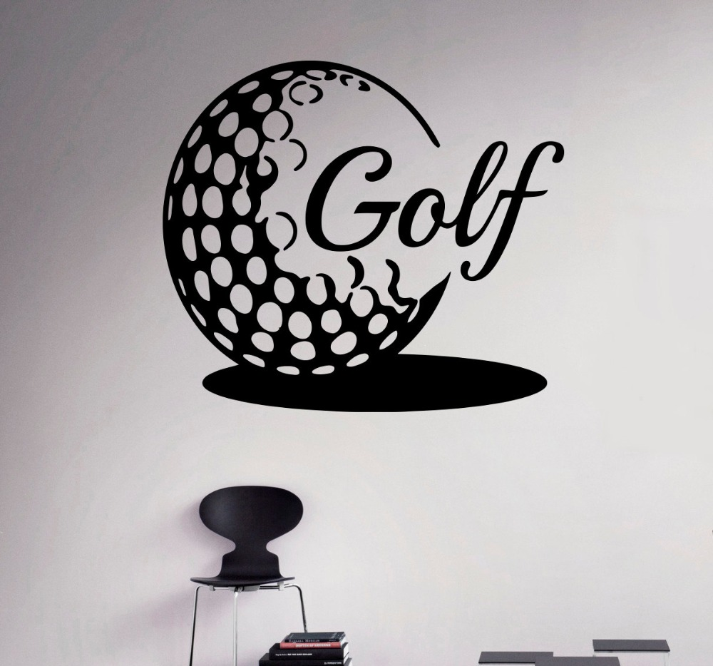 Golf Ball Wall Vinyl Decal Golf Emblem Sports Wall Sticker