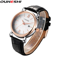 Genuine Leather Watch Top Brand OUKESHI Men Watch Golden Case Business Date Calendar Function Quartz Relogio