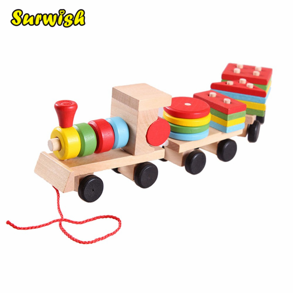 Surwish Hot sale 3 parts Drag Wooden Toys Early Stacking Train For Boys Girls Children Baby Kids Blocks Set Wood Toy Gifts mother garden high quality wood toy wind story green tea wooden kitchen toys set