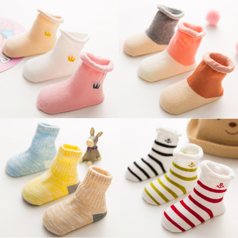 3 Pairs /lot 100% Cotton Baby Socks Crown Striped Newborn Socks Boneless Suture Children's Socks Baby Accessories