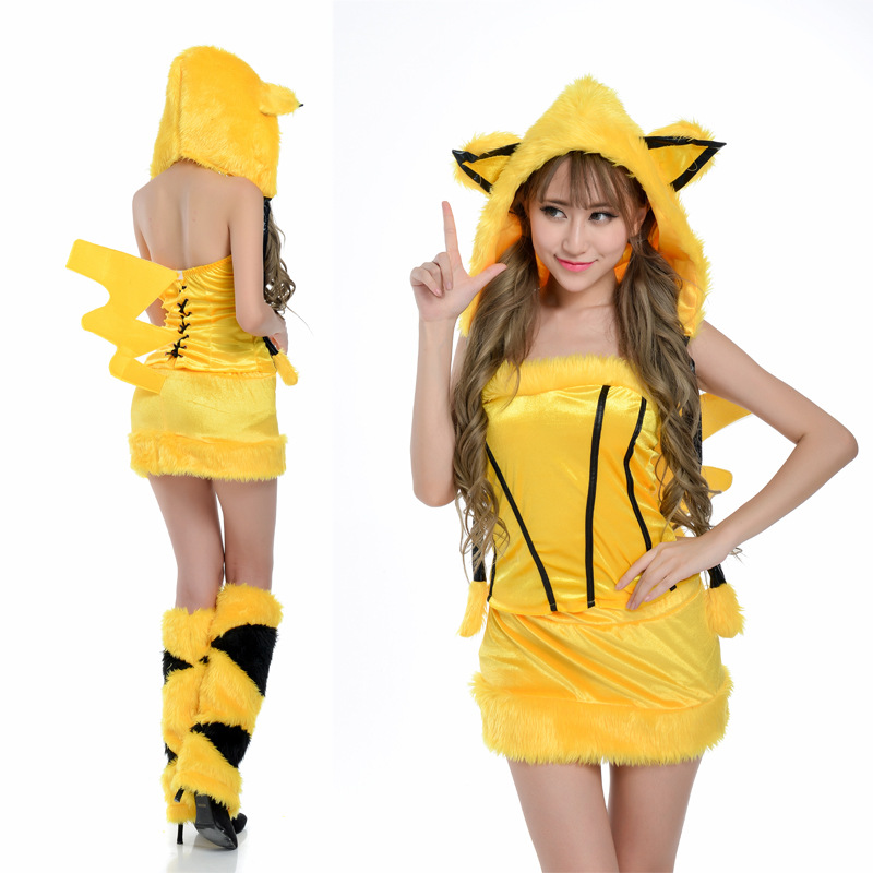 Free Shipping sexy pikachu costume Pokemon pikachu anime cute for girl women sexy cosplay costume