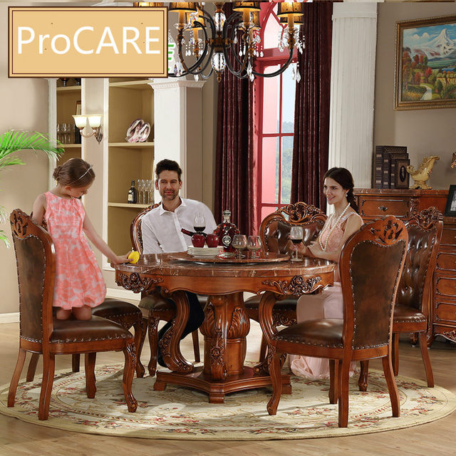 European Round Table/ Luxury Solid Wood Carved Antique Table Set With 6  Chairs - Online Shop European Round Table/ Luxury Solid Wood Carved Antique