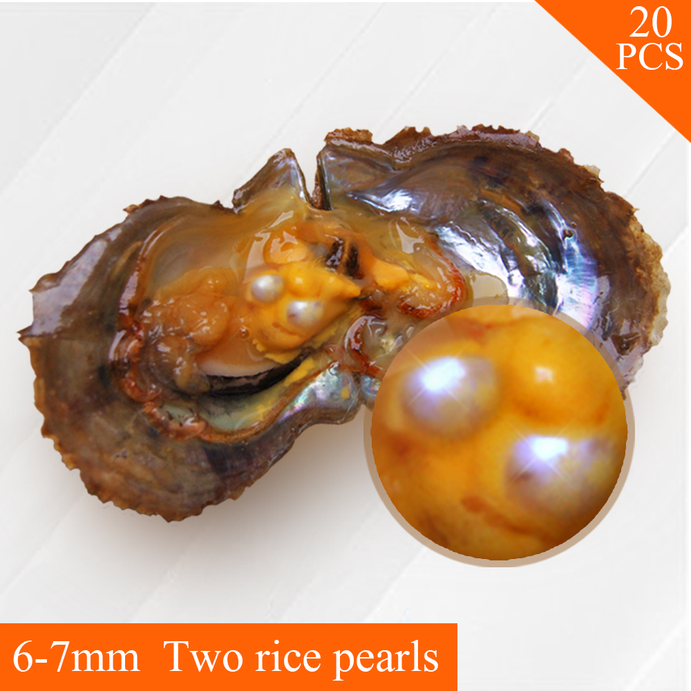 все цены на 20pcs Freshwater Oval Pearl Oyster 6-7mm Twins Pearls with Vacuum Package онлайн