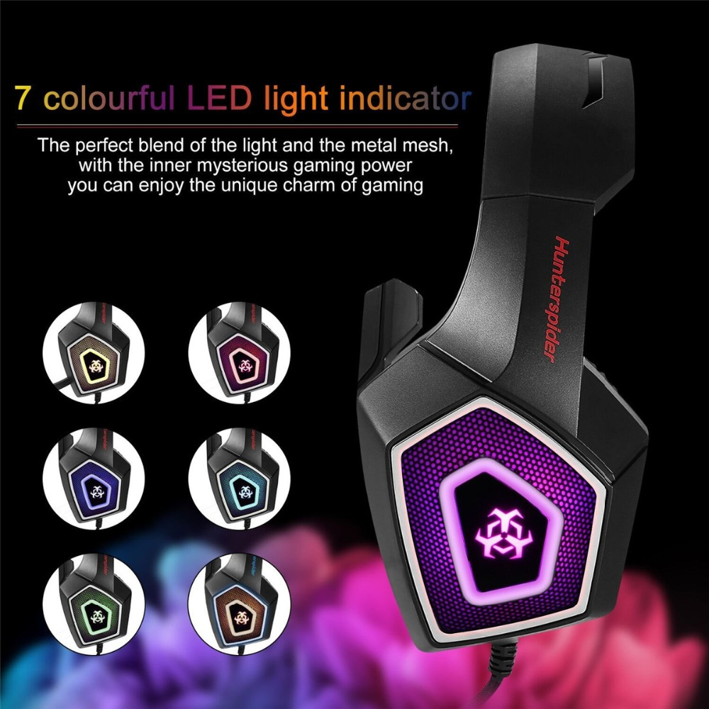 Hunterspider V Stereo Gaming Headset Deep Bass Over Ear Game Headphone with Mic LED Light for