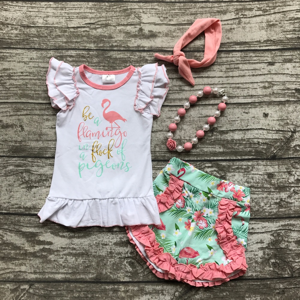 new girls outfit be a flamingo floral coral mint kids boutique shorts sets ruffles cotton clothing match with accessories pezzo юбка pezzo pnlpp21671 160p
