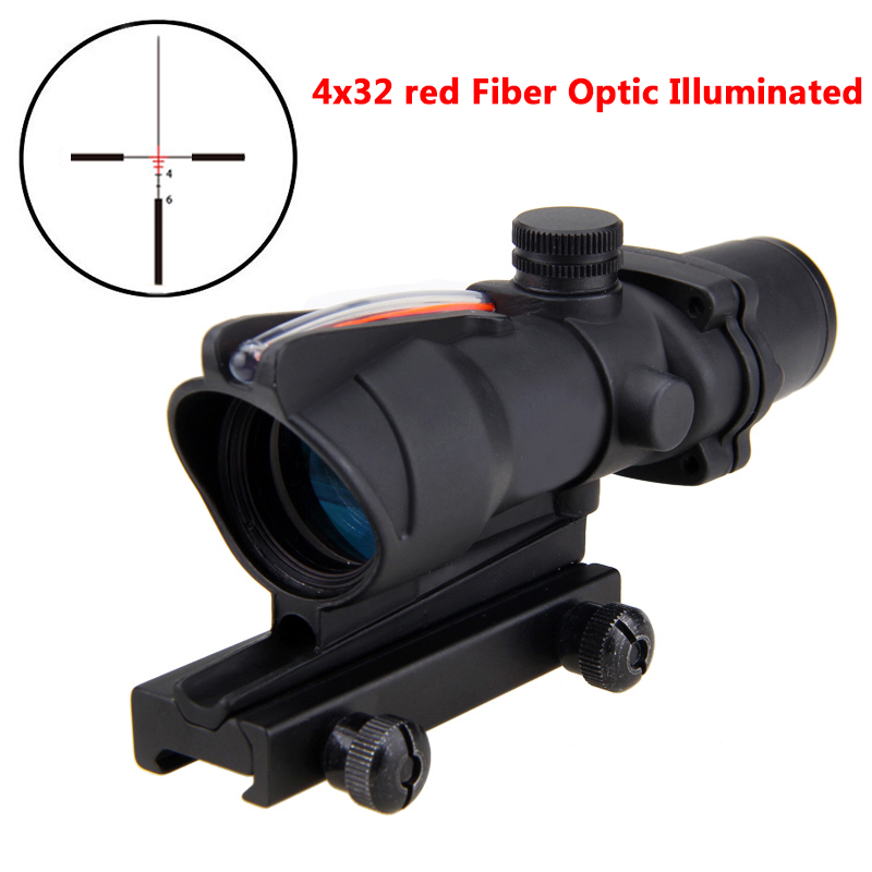 Hunting Riflescope Tactical 4x32 Real Red Fiber Optic Military Illuminated Rifle Scope Black visionking 1 5 5x32 wide angle hunting tactical military waterproof riflescope fully multi coated rifle scope 223 professional