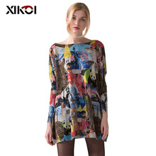 купить 2017 Causal New Women Long Sweater Coat Fashion Ladies Pullovers Print Batwing Sleeve Woman Pullover Cloth по цене 1171.71 рублей