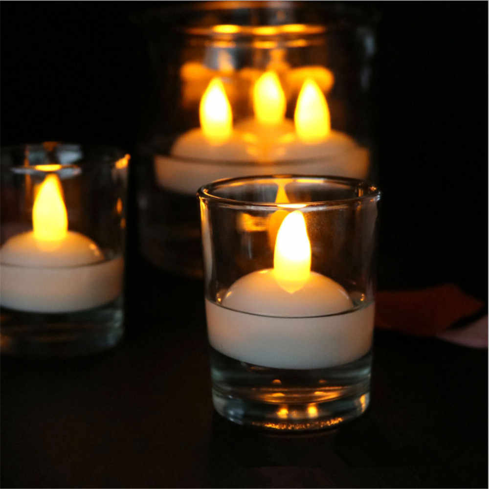 1 PACK Battery Operated Waterproof Flameless Floating Tea lights Flickering LED Tea Lights Candles for Wedding, Party, Pool SPA