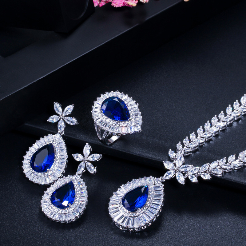 Image 4 - CWWZircons Water Drop Royal Blue CZ Necklace Earrings Ring And  Bracelet 4 Piece Wedding Jewelry Set For Women Bridal Party T098Jewelry  Sets