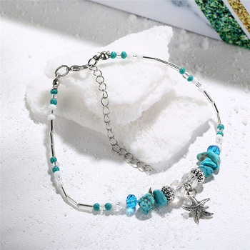 IF ME Bohemian Starfish Beads Stone Anklets for Women BOHO Silver Color Chain Bracelet on Leg Beach Ankle Jewelry 2018 NEW Gifts 4