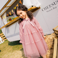 DFXD Girls Dress 2019 Spring Fashion Cotton Full Sleeve Big Girls Party Dress Children Hollow Out Lace Mesh Princess Dress 4 16Y