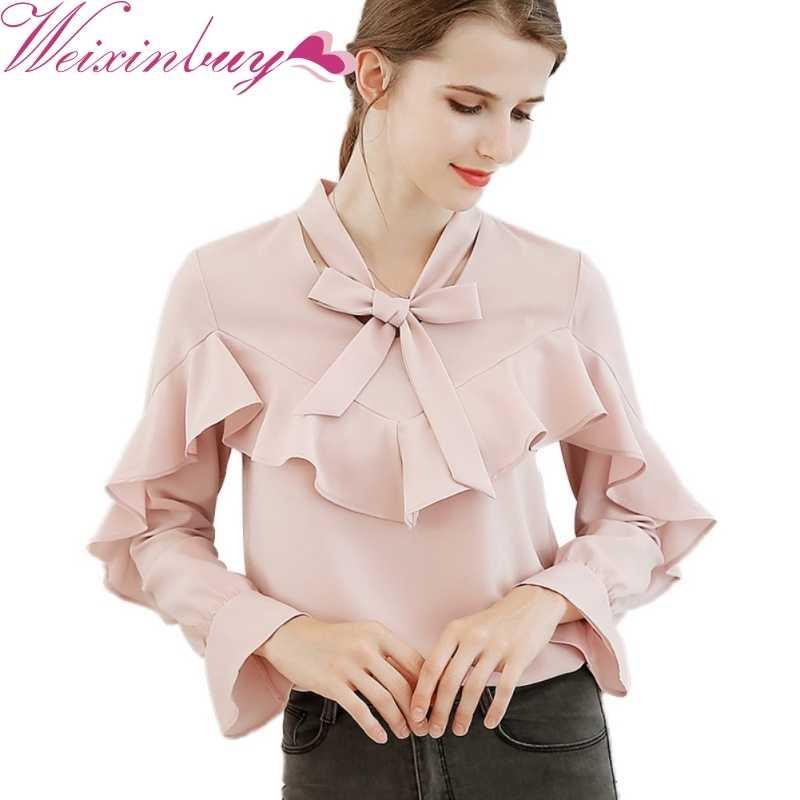 Harajuku Новый Демисезонный Для женщин Блузка с длинными рукавами модные Повседневное рубашки шифоновая рубашка розового цвета с бантом женские офисные топы белого цвета, F1