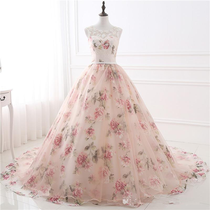 2019 en Stock pas cher Appliques robe de bal imprimé fleurs Organza robe de soirée robes de soirée Rose fleurs dentelle robes formelles