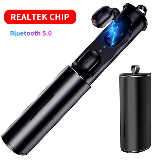 Mini T1 TWS V5.0 auricular Bluetooth 3D inalámbrica auriculares estéreo con micrófono de alta fidelidad de sonido de bajos profundos inalámbrico Dual auriculares