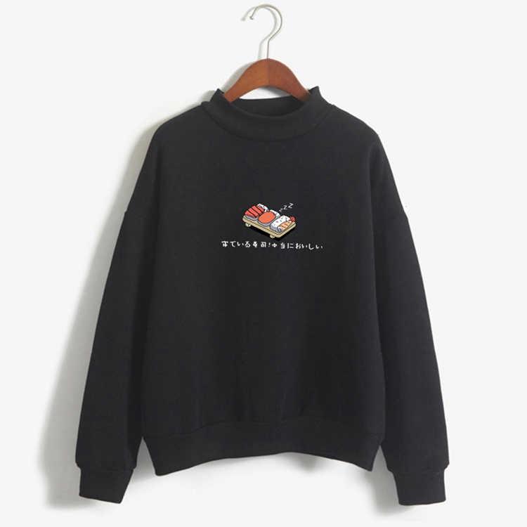 ผู้หญิง Hoodies ฤดูใบไม้ร่วงฤดูหนาว 2019 เสื้อการ์ตูน Kawaii ซูชิญี่ปุ่นพิมพ์ขนแกะหลวม Moletom Feminino เสื้อกันหนาว Harajuku