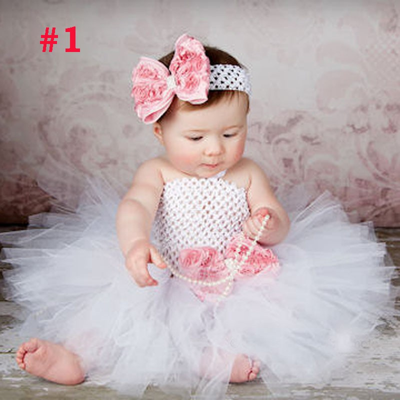 Toddler Girls Fancy Princess Tutu Dress Holiday Flower Double Layers Fluffy Baby Dress with Headband Photo Props TS044 12