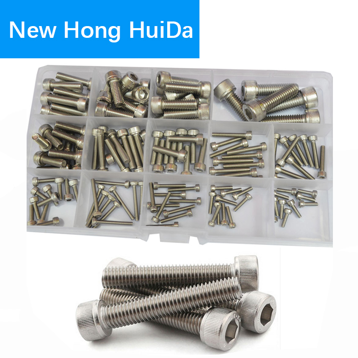 Socket Cap Screw Metric Hex Allen Head Bolt M2.5 M3 M4 M5 M6 M8 Assortment Kit 135Pcs (304Stainless Steel M2.5-M8) 4pcs set hand tap hex shank hss screw spiral point thread metric plug drill bits m3 m4 m5 m6 hand tools