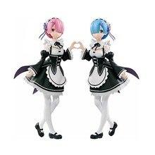 Buy 2pcs/set Re Zero kara Hajimeru Isekai Seikatsu ram rem action figure PVC toys collection doll anime cartoon model directly from merchant!