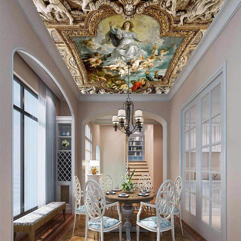 صور خلفيات السقف النمط الأوروبي زينيث جدارية ثلاثية الأبعاد الشكل النفط اللوحة ورق حائط الخلفية غرفة المعيشة مطعم الجداريات