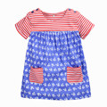 Лето детские девушки полосатый платье, мягкий хлопок sweet принцесса платье, 2 цвета симпатичные набивным рисунком, рядом одежда стиль (1-6 лет)