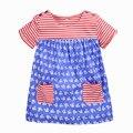 Los bebés del verano vestido a rayas, algodón suave sweet princess dress, 2 colores diseño impreso lindo, al lado de ropa estilo (1-6 años)