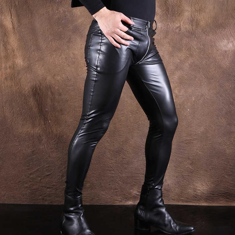 59e1df8e59 Sexy Men High Elastic Shiny PU Faux Leather Pencil Pants Fashion Punk Pants  Wet Look Glossy