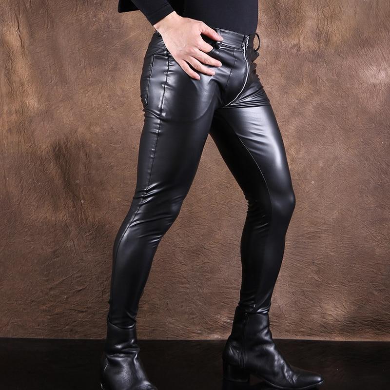 Sexy hommes haute élastique brillant PU Faux cuir crayon pantalon mode Punk pantalon humide Look brillant crayon pantalon Gay porter grande taille F100