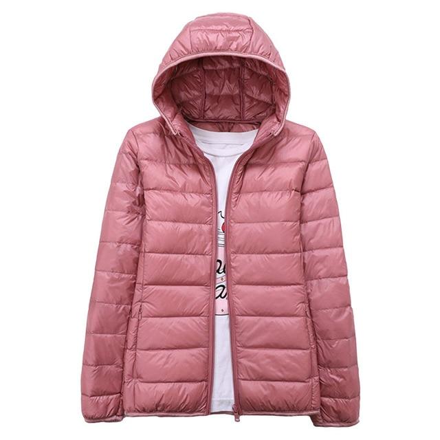 Winter Down Jacket Women Ultra Light Duck Down Hooded Jacket Long Sleeve Warm Slim Coat Parka Female Solid Portabl Outwear Parka