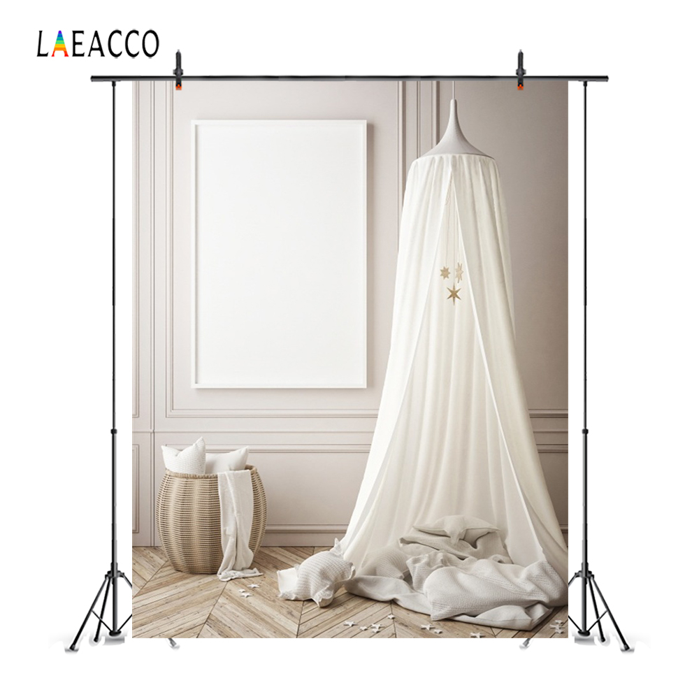 Laeacco Gray White Tent Wigwam Chic Wall Wooden Floor Curtain Star