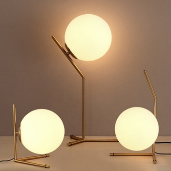 LukLoy Modern Nordic Creative Table Lamp Bedroom Bedside Modern Minimalist Glass Ball Metal Table Desk Lamp with LED Light Bulb